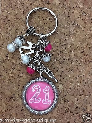 21st Birthday Bottle Cap Keychain  21 Year Old  Birthday Key Chain