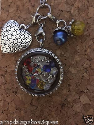 Autism Floating Charm with 30MM Locket Chain Included Autism Locket with Chain