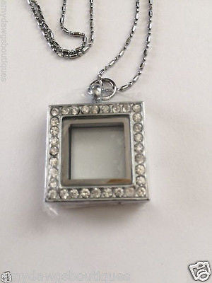 30mm Square Memory Locket  Floating Charm Square Locket w/chain