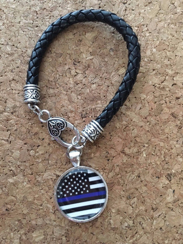 Police Thin Blue Line Leather Bracelet with charm