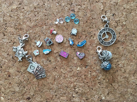 Alice In Wonderland  Inspired Floating Charm For Memory Locket,  Locket Charms