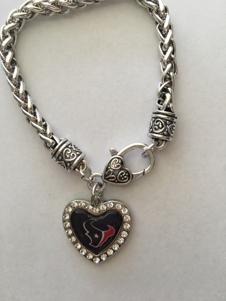 HOUSTON TEXANS INSPIRED CRYSTAL HEART ANTIQUE FINISHED BRACELET NEW