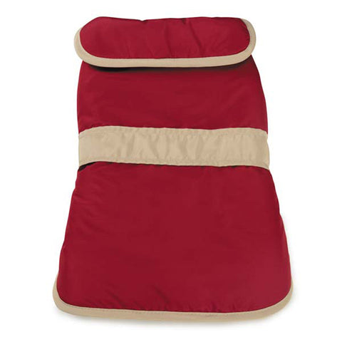 Casual Canine Barn Dog Coat with Contrast Trim - Cranberry