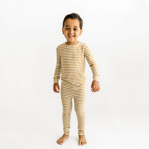 Camel Stripe Ribbed Two-Piece Set