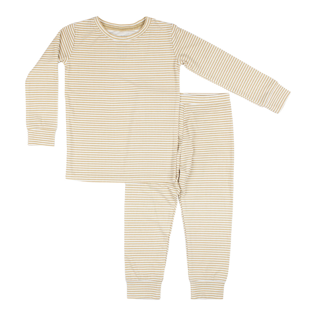 Tan Stripe Ribbed Two-Piece Set