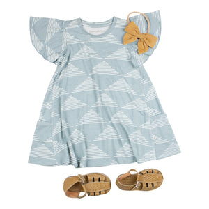 Blue Triangles Pocket Dress
