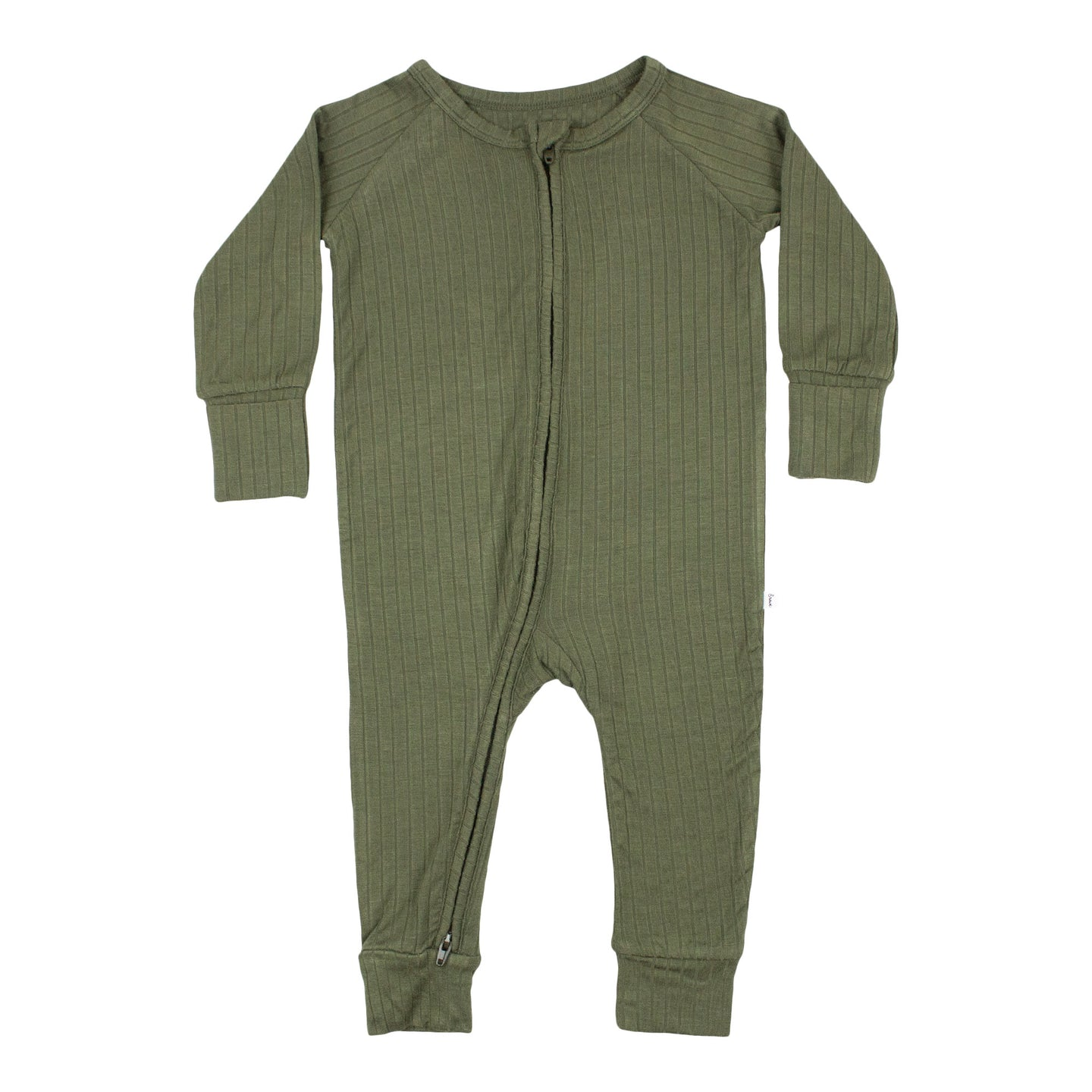 Dark Olive Ribbed Zip Romper