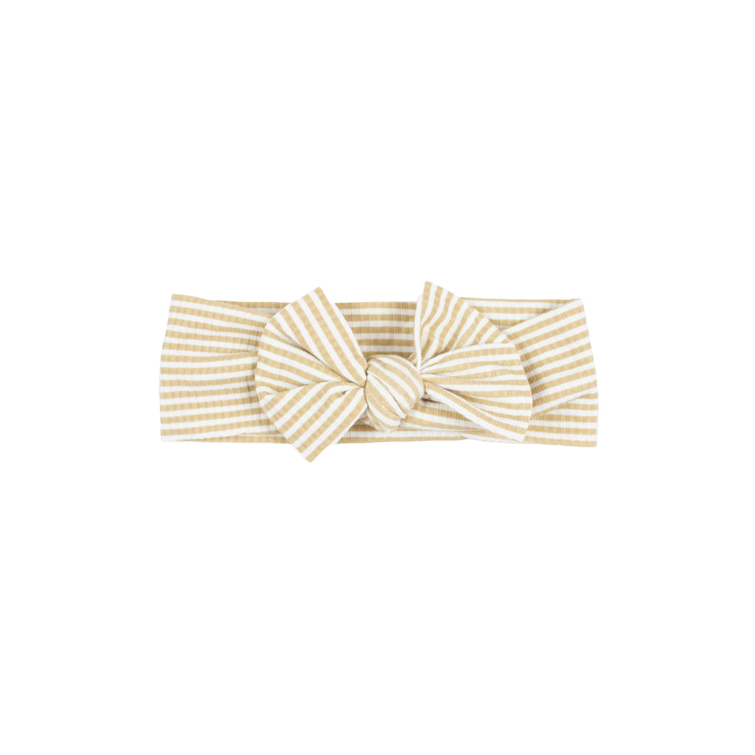 Tan Stripe Ribbed Bow