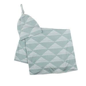 Blue Triangles Stretchy Swaddle Set
