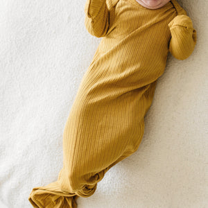Mustard Ribbed Knotted Gown