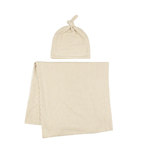 Tan Stripe Stretchy Swaddle Set