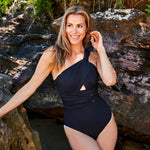 Angelica one piece swimsuit ribbed black swimwear | Contessa Volpi Summer 2019/2020 Collection