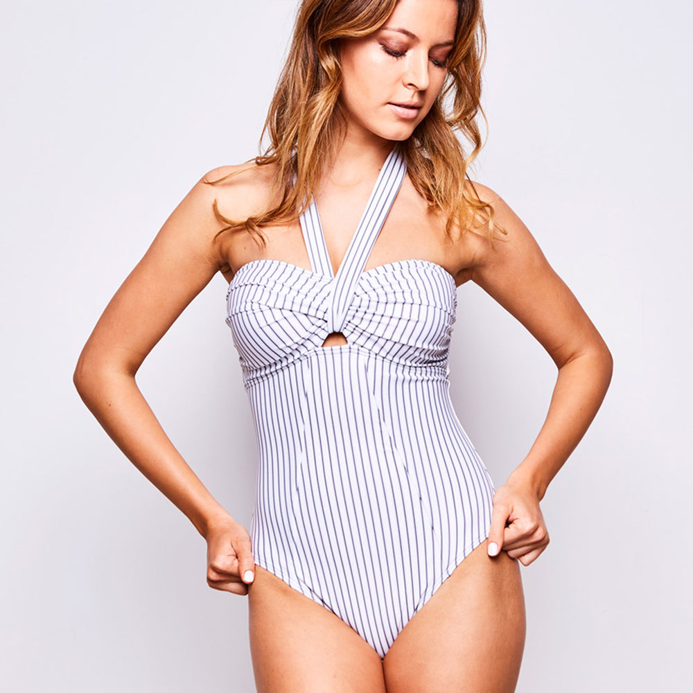 ADINA ONE PIECE PINSTRIPE WHITE-GREY - Swimwear by Contessa Volpi
