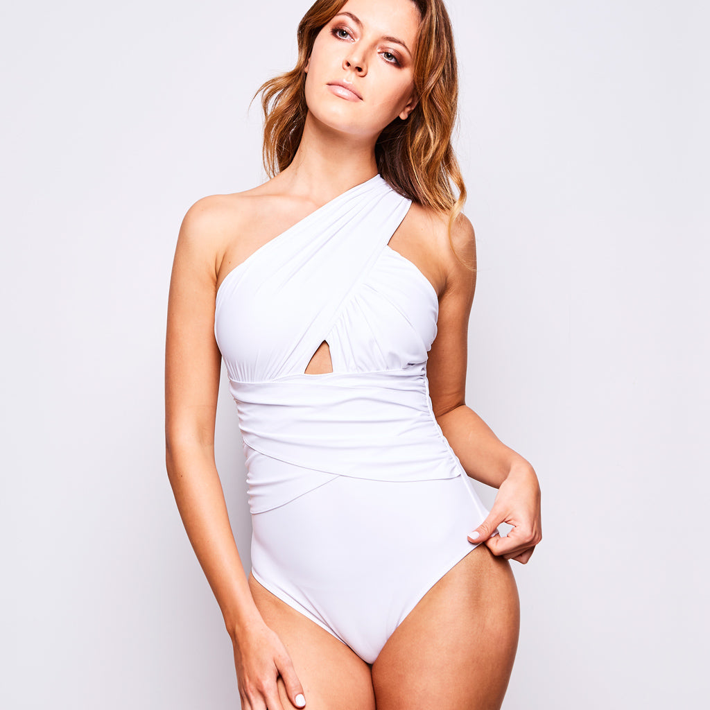 3a1c0a950ba Elle Swimsuit One Shoulder in White by Contessa Volpi Swimwear