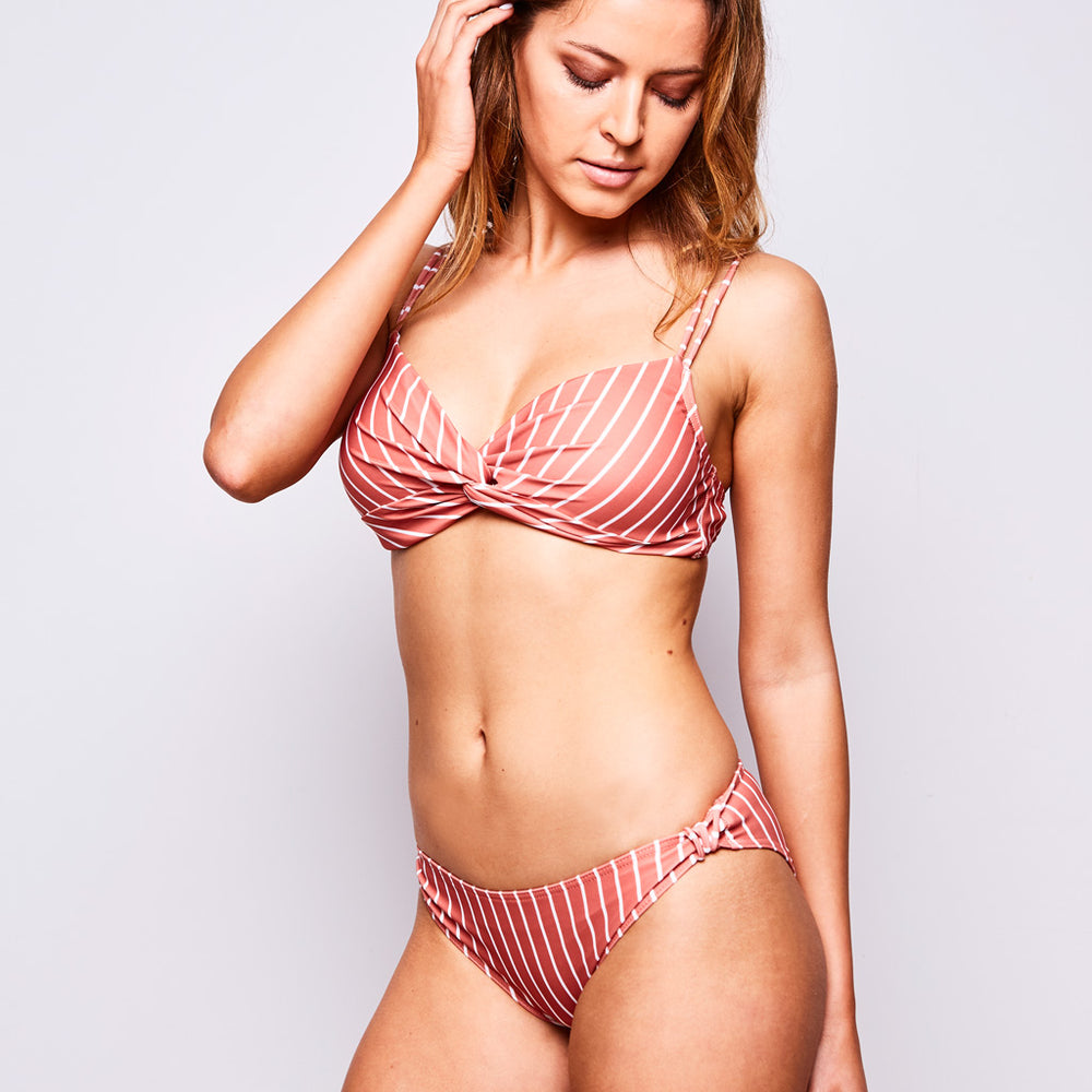 Estelle Bikini Stripes Burnt Orange - 'Beautiful swimmers with lovely luxurious fabric.' Karina S.