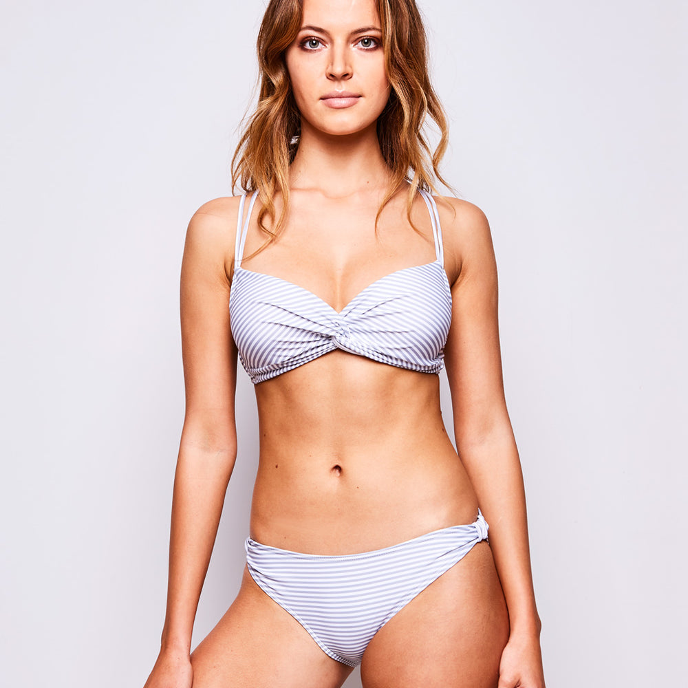 ESTELLE BIKINI STRIPES GREY-WHITE - Swimwear by Contessa Volpi