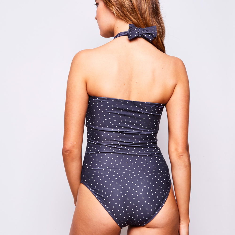ADINA ONE PIECE DOTS GREY - Swimwear by Contessa Volpi