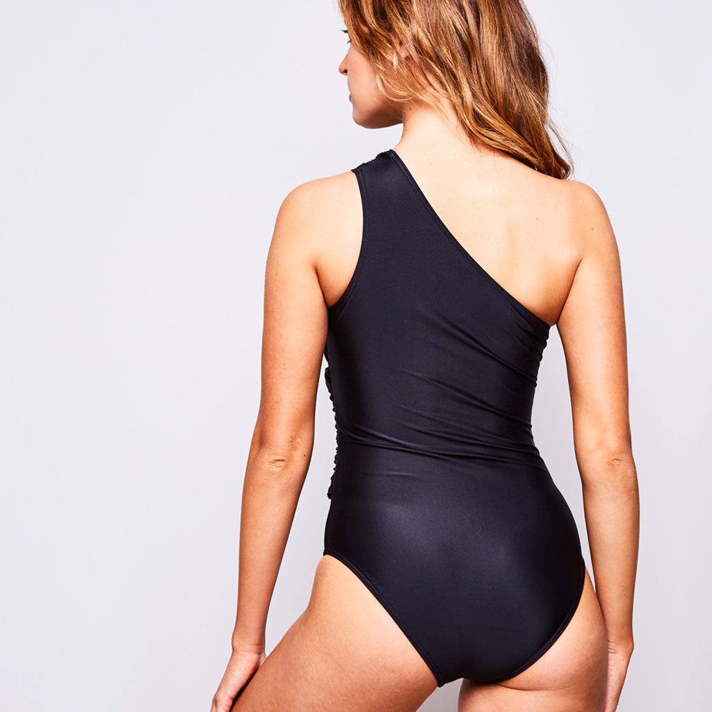 7aa42b7b04f Elle Swimsuit One Shoulder in Black by Contessa Volpi