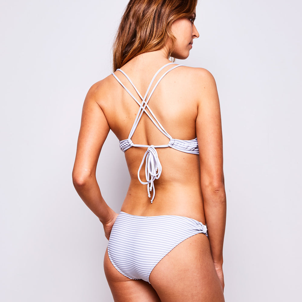 Estelle Bikini Stripes Grey & White - 'Quality is everything for me! That's why I love slip into my Bikini Estelle' - Jane P. - Swimwear by Contessa Volpi