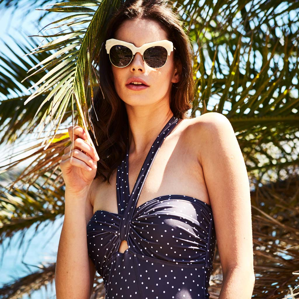 "Adina One Piece Dots Grey - ""Beautiful swimmers with lovely luxurious fabric."" Cath M. - Swimwear by Contessa Volpi"