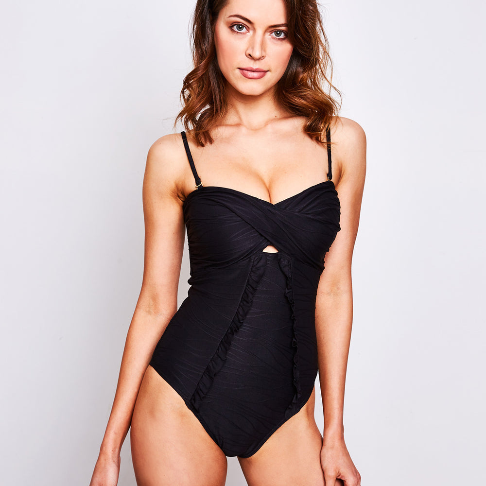 ALICE ONE PIECE RIPPLE JACQUARD BLACK - Swimwear by Contessa Volpi