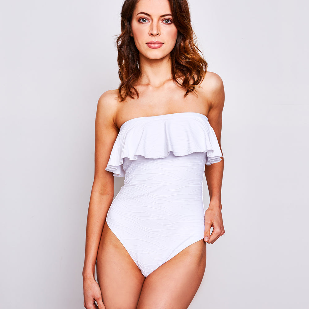"Olivia One Piece Jacquard White - ""Contessa Volpi has amazing customer service and fast free shipping"" Karina S. - Swimwear by Contessa Volpi"