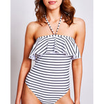 "Olivia Swimsuit Stripes Black & White - ""Sophistication, simplicity and consciousness"" Desiree L. - Swimwear by Contessa Volpi"
