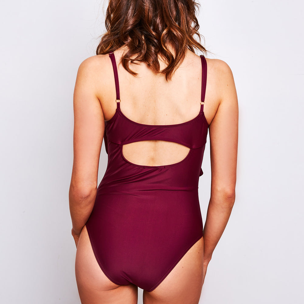 Arianna One Piece Aubergine - Swimwear by Contessa Volpi