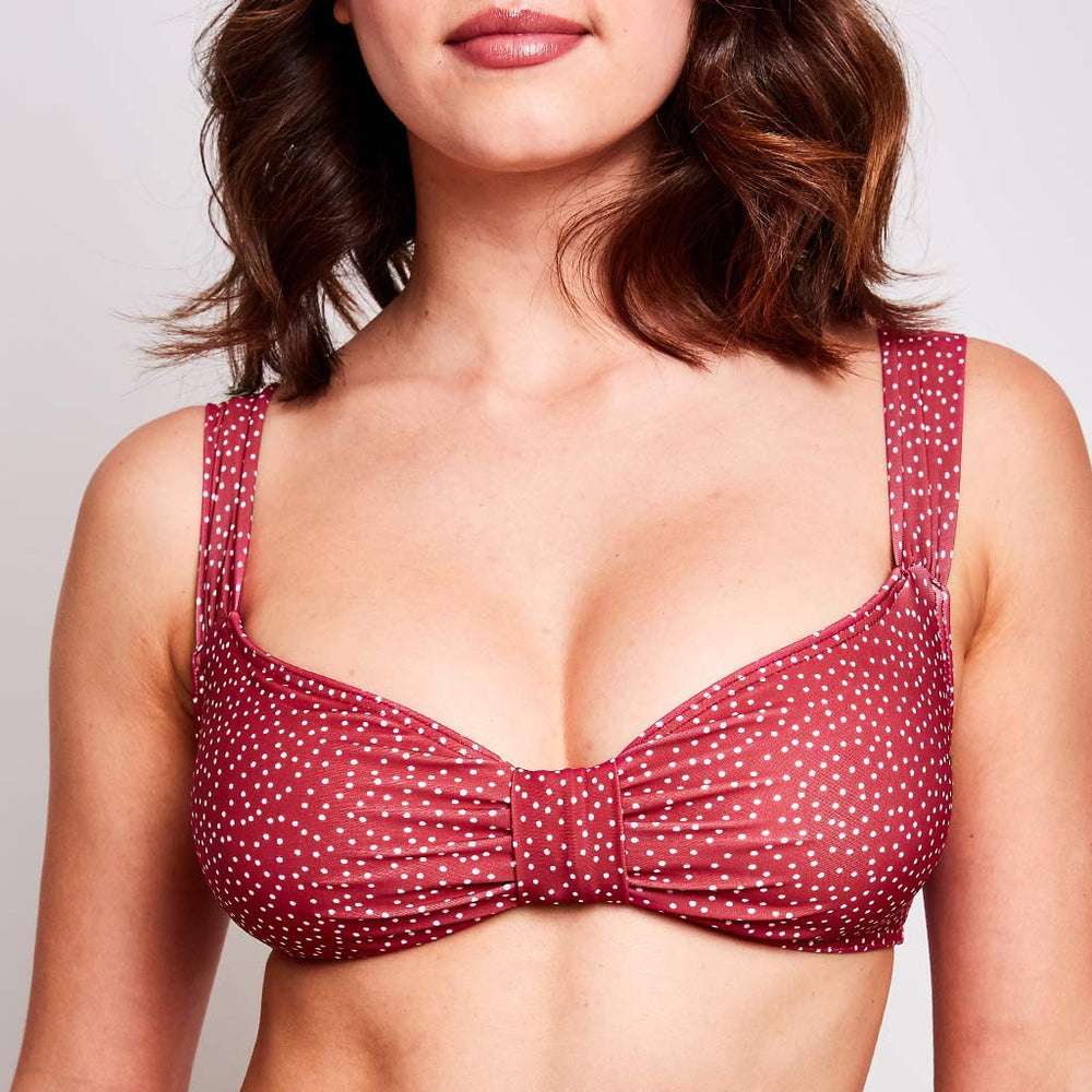 Aria Bikini Top Dots Cherry - 'Sustainable and beautiful!'