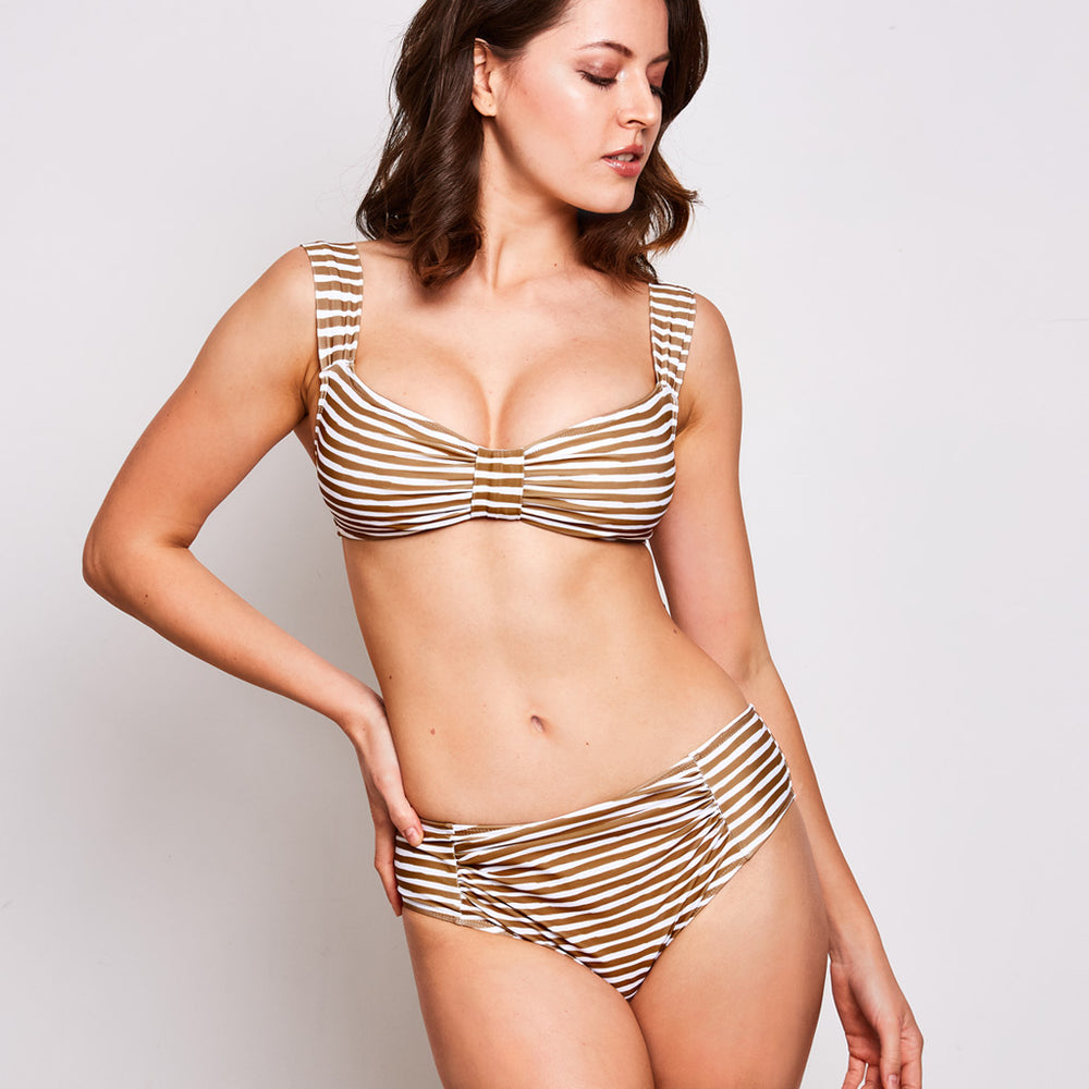 aria bikini in stripes olive and white by australian brand contessa volpi