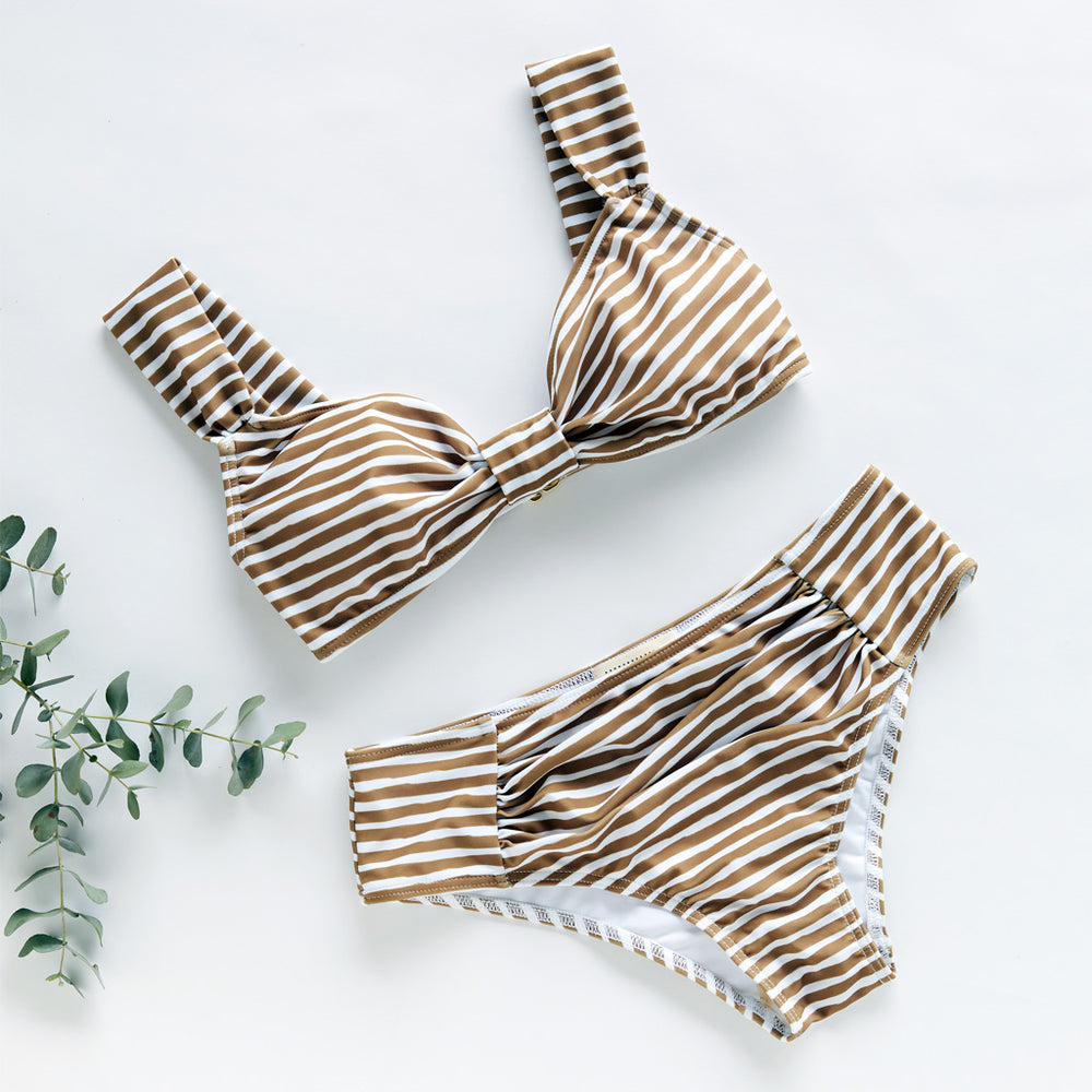 flat aria bikini in a unique stripes olive and white by contessa volpi swimwear