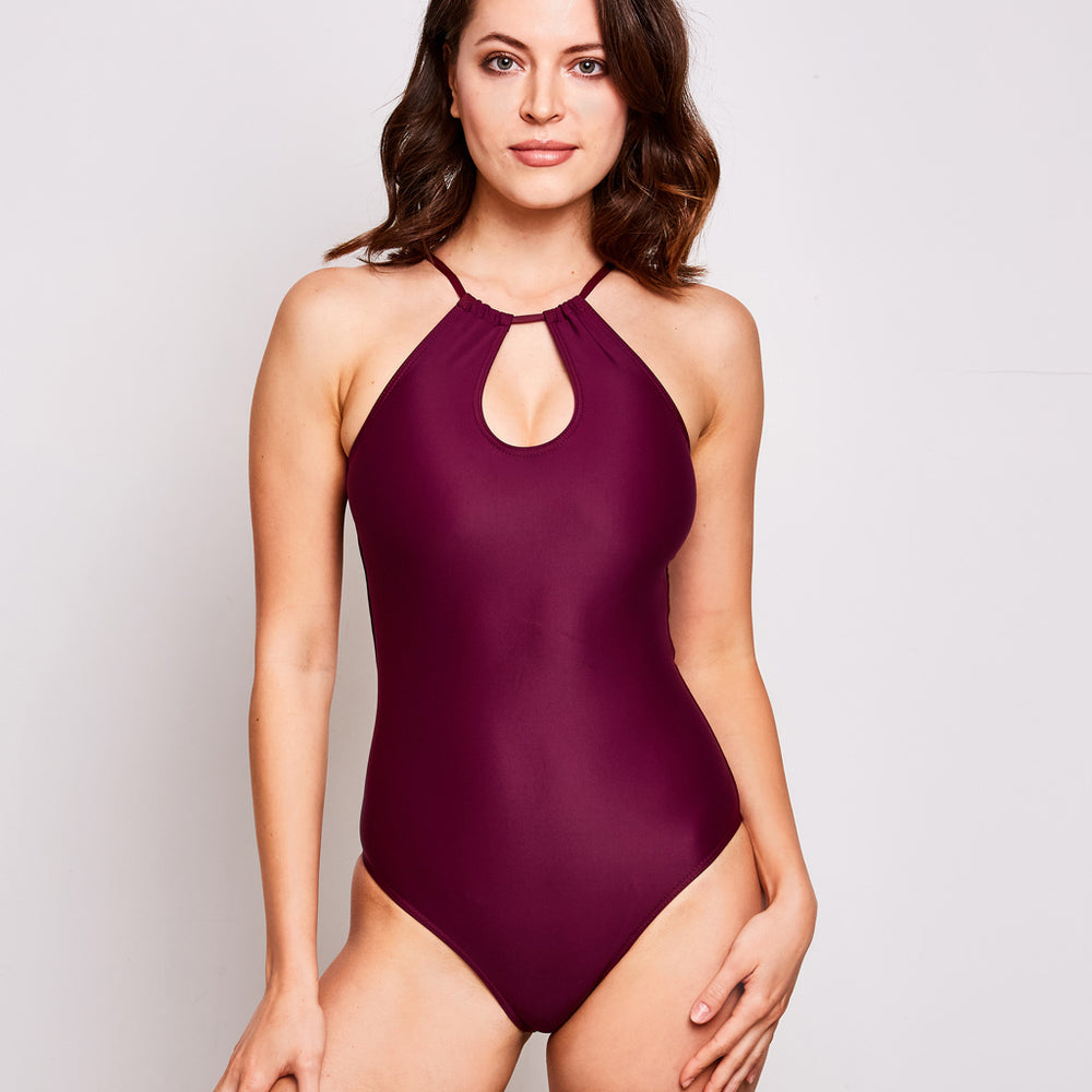 Emma one piece swimsuit aubergine swimwear, front | Contessa Volpi Summer 2019/2020 Collection