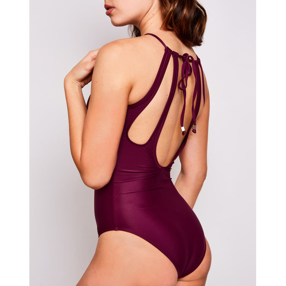 Emma one piece swimsuit aubergine swimwear, side | Contessa Volpi Summer 2019/2020 Collection