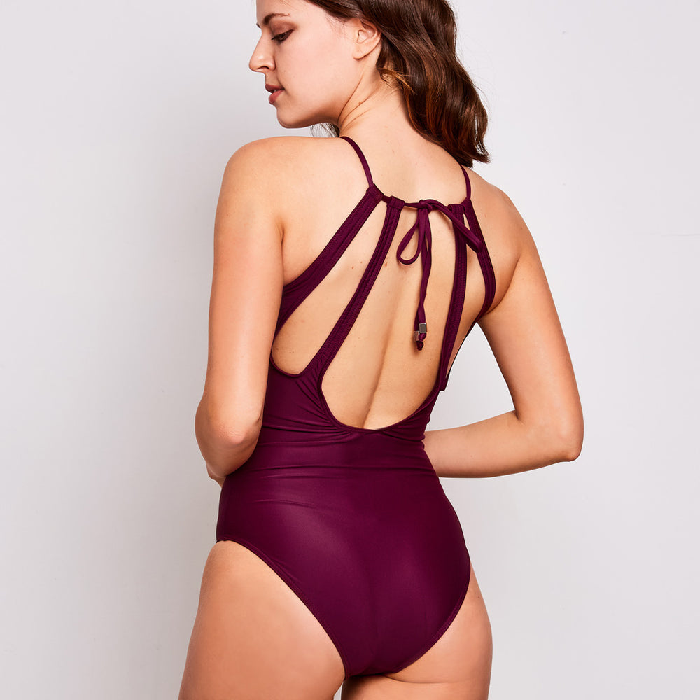 Emma one piece swimsuit aubergine swimwear, back | Contessa Volpi Summer 2019/2020 Collection