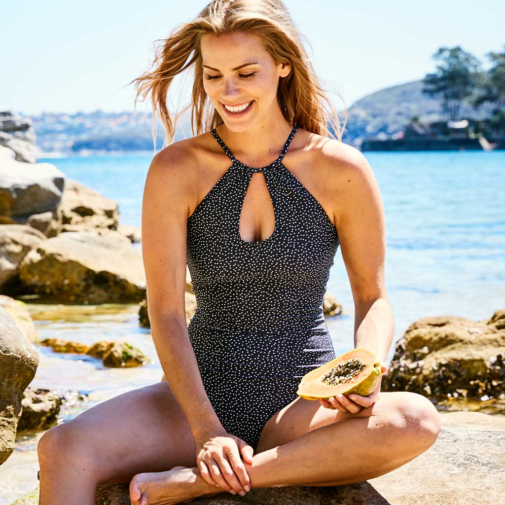 Emma one piece swimsuit dots black swimwear | Contessa Volpi Summer 2019/2020 Collection