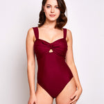 Luna one piece swimsuit burgundy swimwear, front | Contessa Volpi Summer 2019/2020 Collection