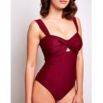 Luna one piece swimsuit burgundy swimwear, side | Contessa Volpi Summer 2019/2020 Collection