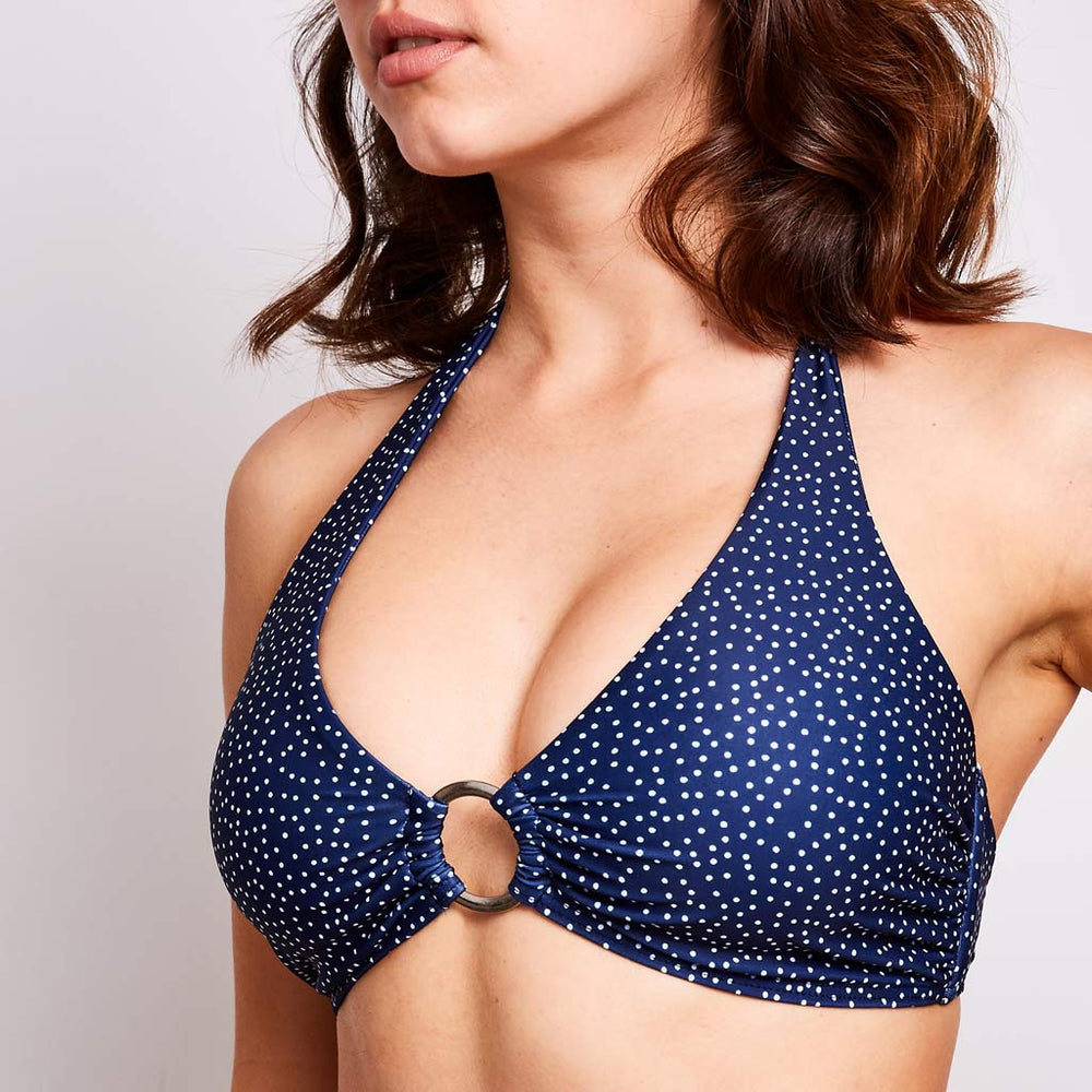 "Mia Bikini Top Dots Navy Blue -""I always receive compliments on my bathing suits"""