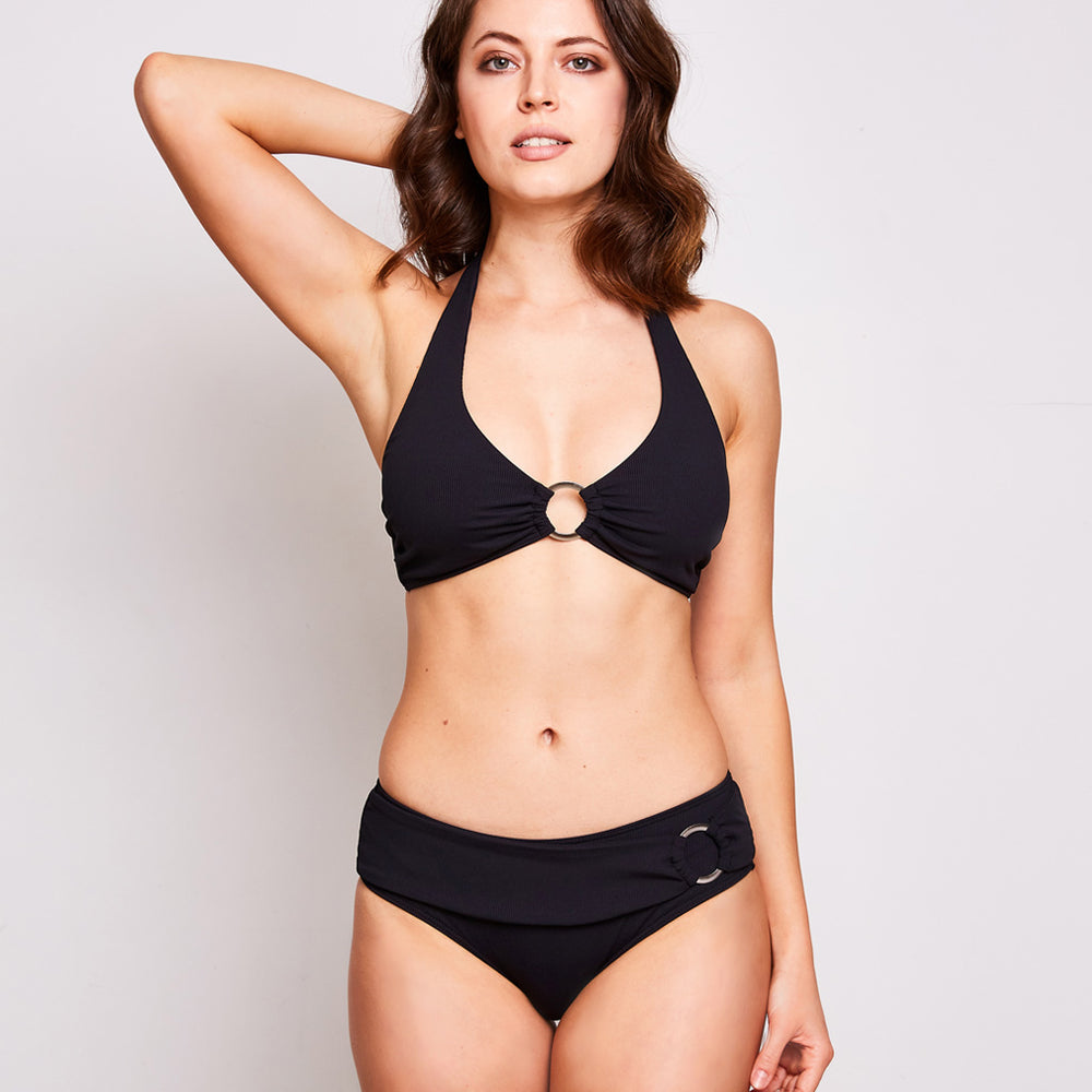 mia bikini in a luxurious and soft ribbed fabric black colour
