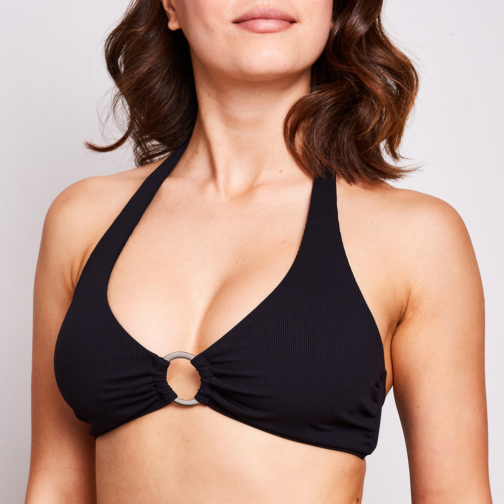 mia bikini top made in australia with a super soft italian ribbed fabric in classic black