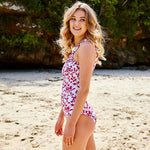 Sharlise One Piece Ramage White & Aubergine - Swimwear by Contessa Volpi