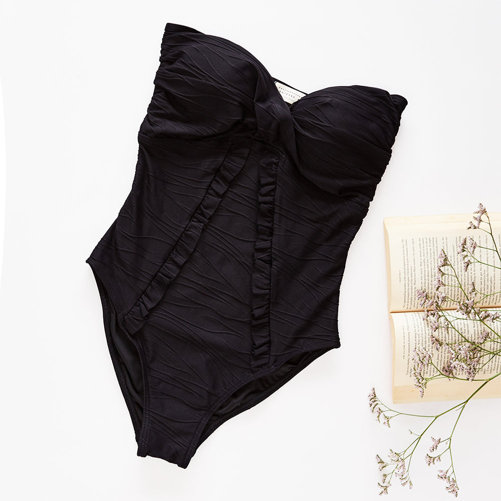 "Alice One Piece Jacquard Black - ""Quality is far superior to larger brands"" Claire M. - Swimwear by Contessa Volpi"