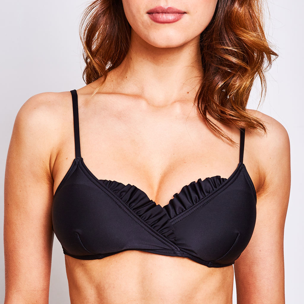 dalia bikini top with ruffle decorations and removable cups in black colour