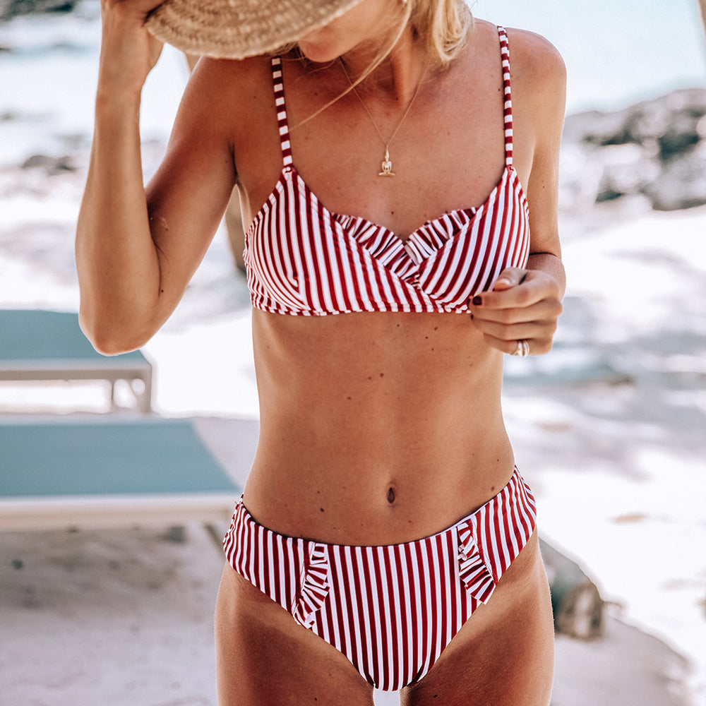 "Dalia Bikini Stripes Cherry & White - ""They're so unique and different, while being fashionable"" Heather L. - Swimwear by Contessa Volpi"
