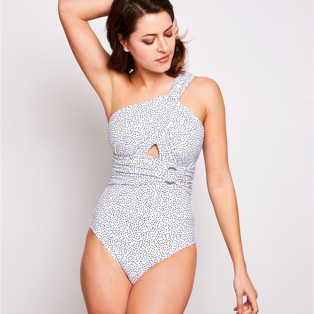 Angelica one piece swimsuit dots white swimwear, front | Contessa Volpi Summer 2019/2020 Collection