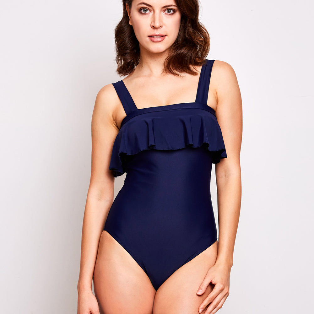 Clara one piece swimsuit navy blue swimwear, front | Contessa Volpi Summer 2019/2020 Collection