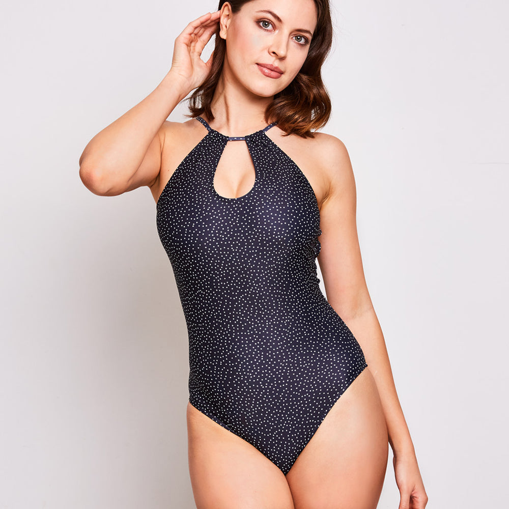 Emma one piece swimsuit dots black swimwear, front | Contessa Volpi Summer 2019/2020 Collection