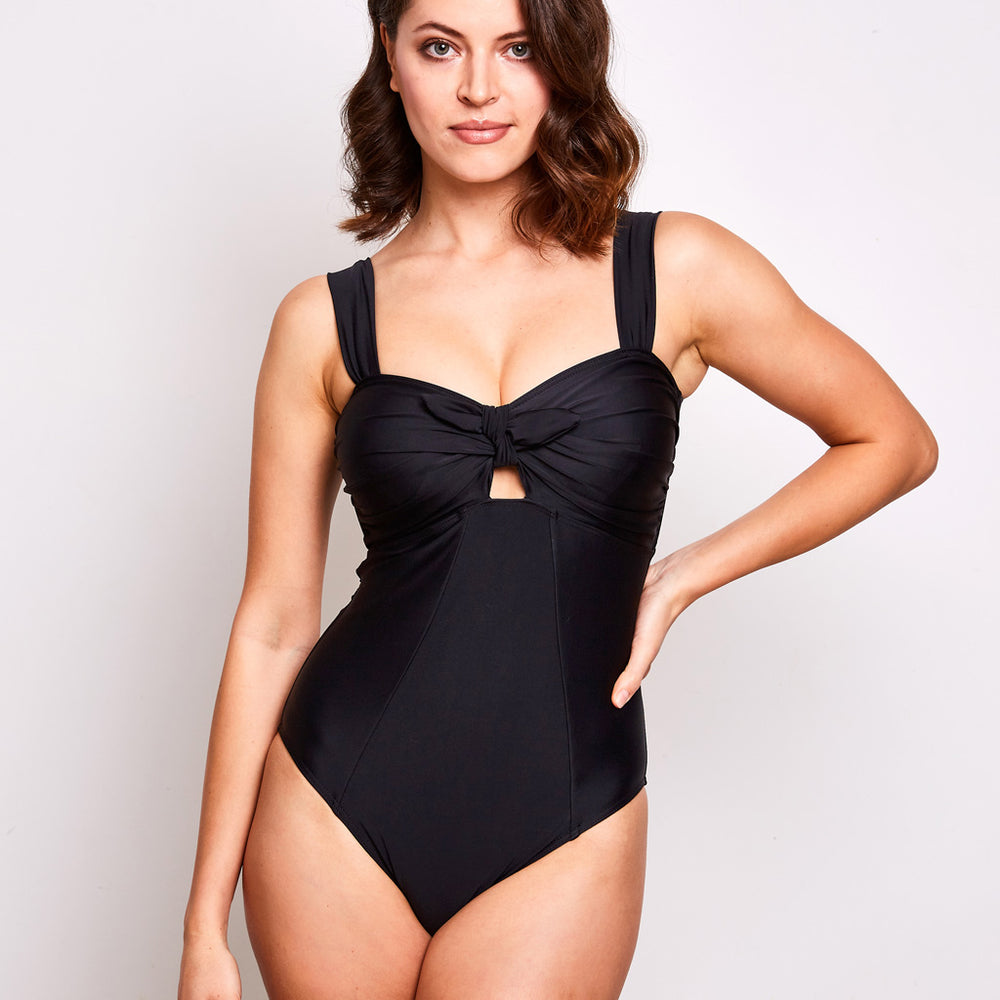 Luna one piece swimsuit black swimwear, front | Contessa Volpi Summer 2019/2020 Collection