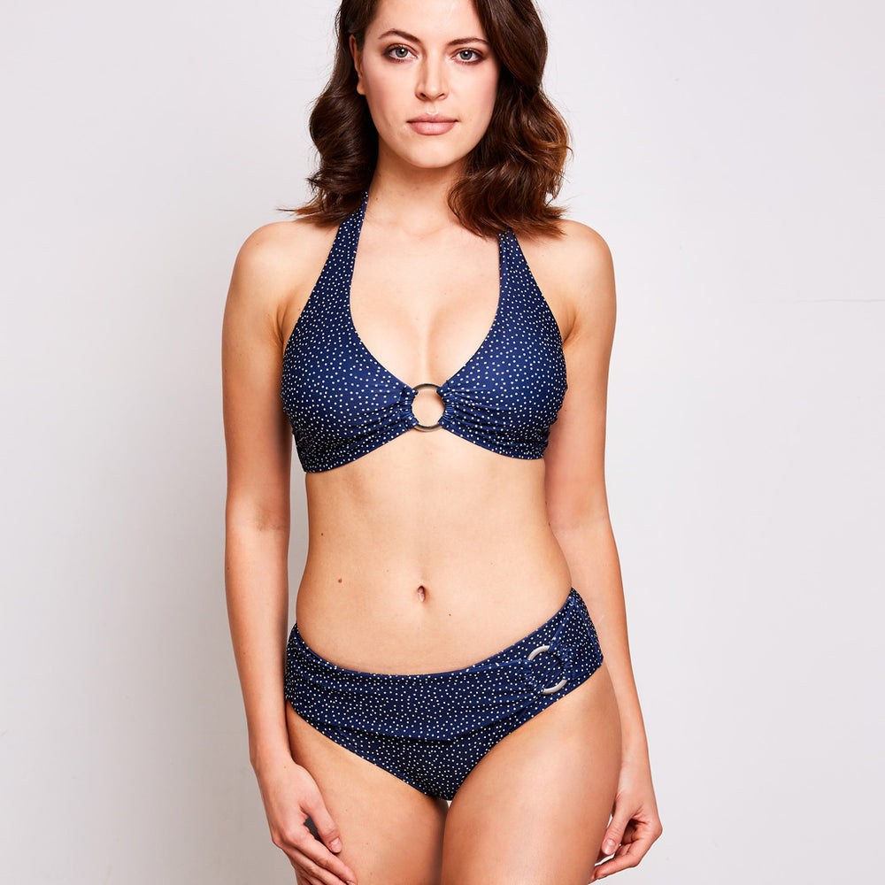 Mia bikini dots navy blue swimwear, front | Contessa Volpi Summer 2019/2020 Collection
