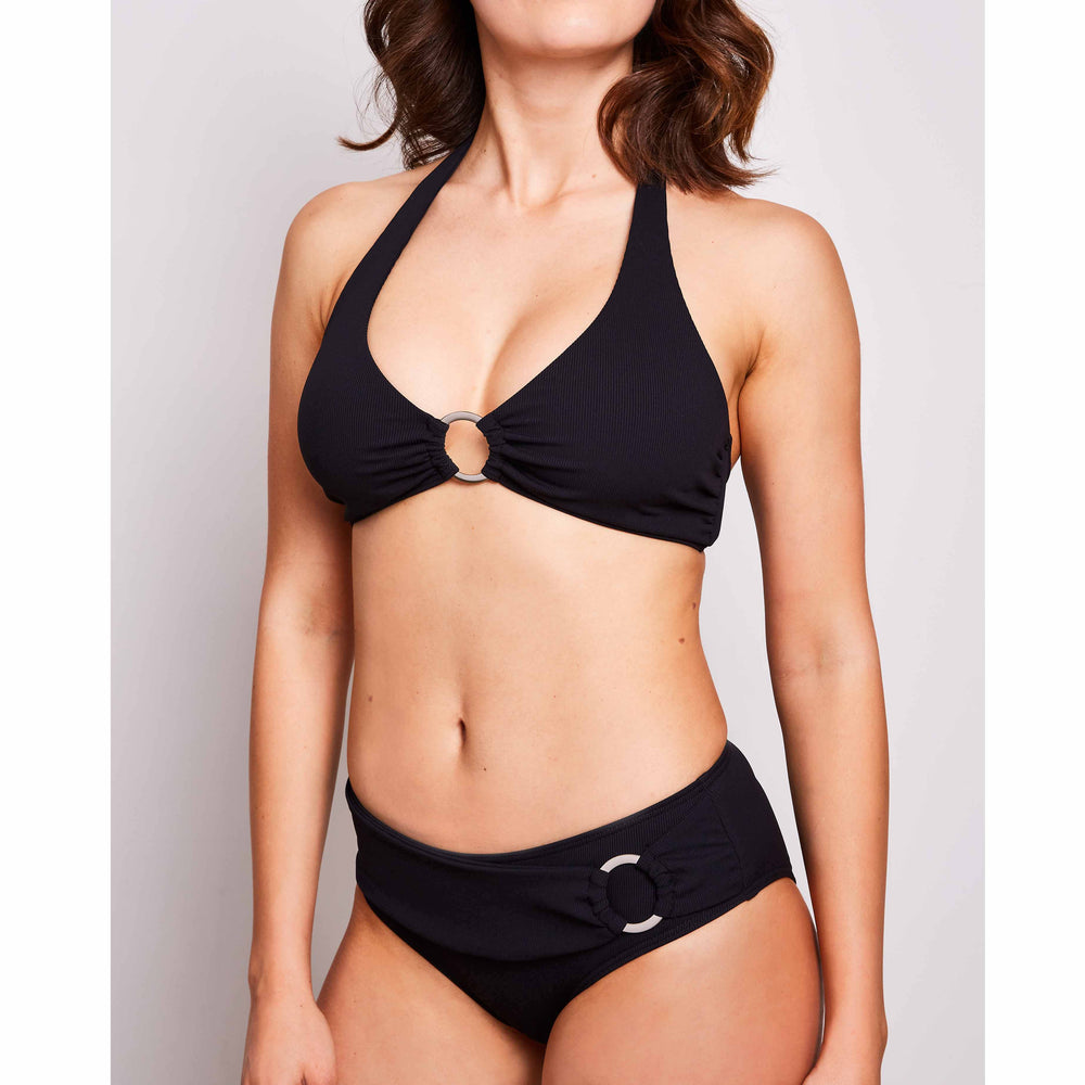 Mia bikini ribbed black swimwear, detail | Contessa Volpi Summer 2019/2020 Collection